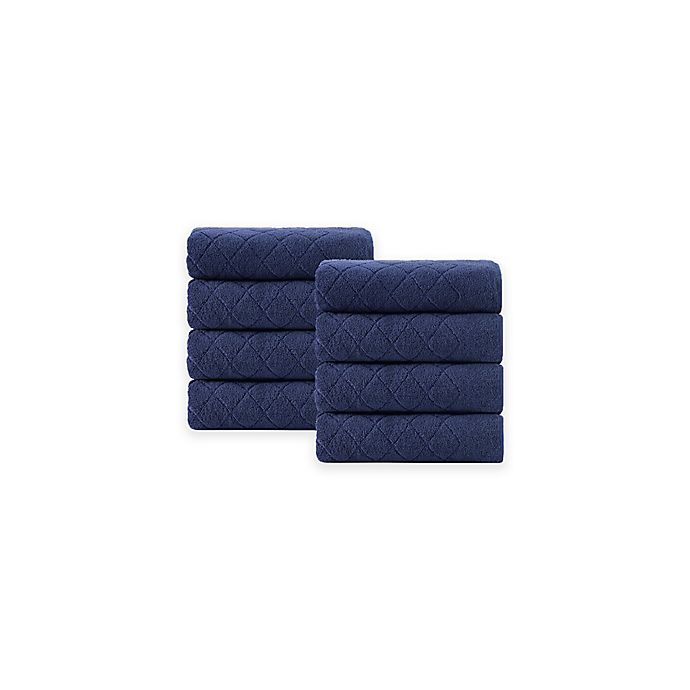 Alternate image 1 for Enchante Home® Gracious 8-Piece Turkish Cotton Wash Towel Set in Navy