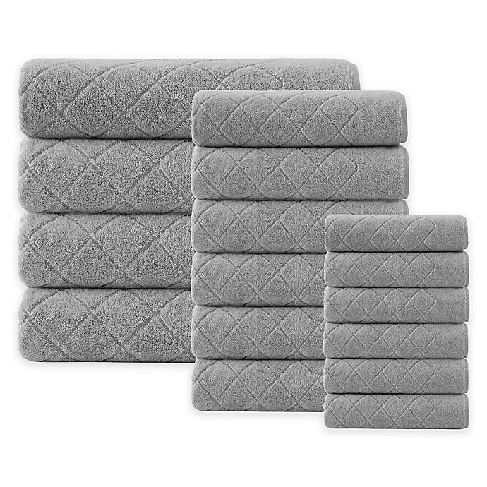 Alternate image 1 for Enchante Home® Gracious 16-Piece Turkish Cotton Towel Set in Silver