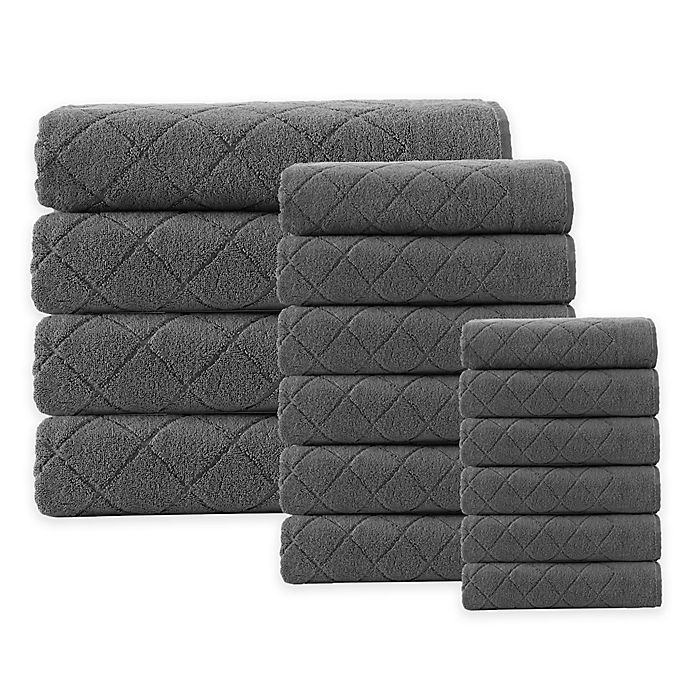 Alternate image 1 for Enchante Home® Gracious 16-Piece Turkish Cotton Towel Set in Anthracite