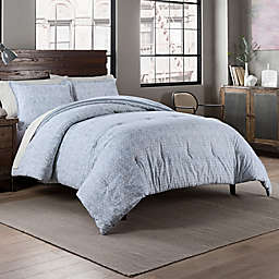 Garment Washed Links Printed 3-Piece Reversible Full/Queen Comforter Set in Chambray