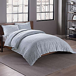 Garment Washed Links Printed Reversible Full/Queen Duvet Cover Set in Chambray