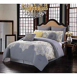 Melania Reversible 10-Piece King Comforter Set in Yellow/Grey