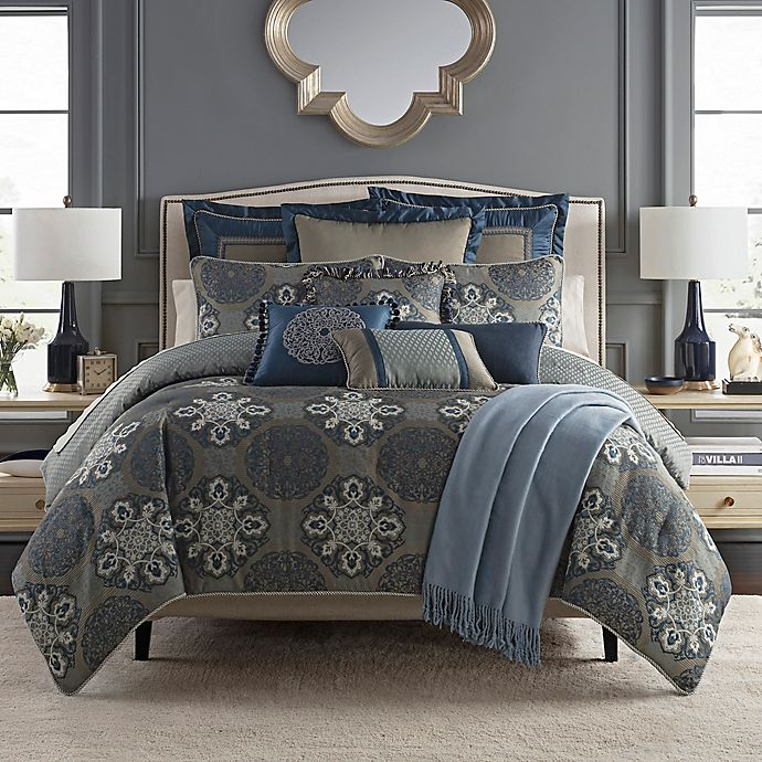 Alternate image 1 for Waterford® Jonet King Duvet Cover Set in Indigo