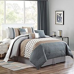 Emer King Comforter Set in Grey/Taupe
