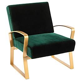 Lumisource Velvet Henley Chair in Green