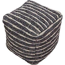 Ren-wil Wool Upholstered Konya Pouf Ottoman in Smoke Grey