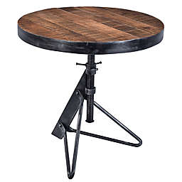 Coast to Coast Imports LLC® Adjustable Round Accent Table in Natural/Black