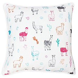 Thro Lara Cindy Llama Sqaure Throw Pillow in White/Blue
