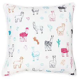 Thro Lara Cindy Llama Sqaure Throw Pillow in White/Blue