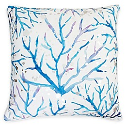 Thro Tygna Coral Square Throw Pillow in Blue