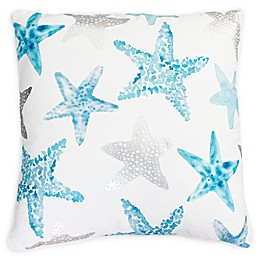 Thro Starfish Square Throw Pillow in Blue