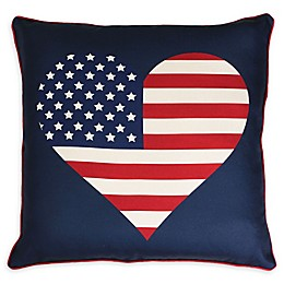 Thro Heart Flag Square Throw Pillow in Red/Blue