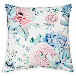 Thro Arianna Cindy Succulent Square Throw Pillow in White/Pink