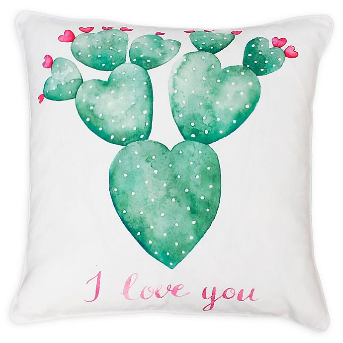 Alternate image 1 for Thro Sandrine Cindy Succulent Square Throw Pillow in White/Green