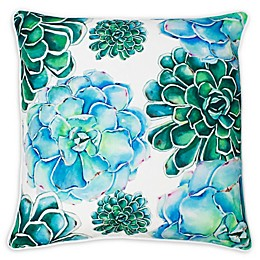 Thro Maribella Cindy Succulent Square Throw Pillow in Blue/Green