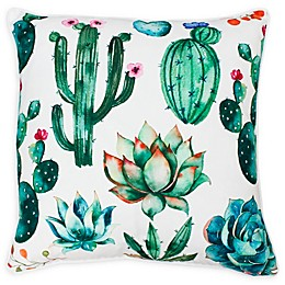 Thro Ellen Cindy Succulent Square Throw Pillow in White/Green