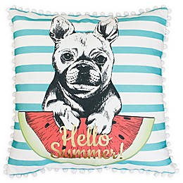 Thro Franco French Bulldog Square Throw Pillow in Aqua/White