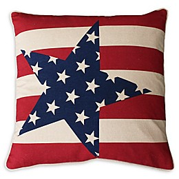 Thro Andrew Stars Stripes Square Throw Pillow in Red/Blue