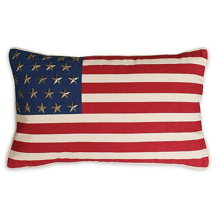 Alternate image 1 for Thro American Flag Oblong Throw Pillow in Red/Blue