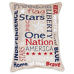 Thro Patriotic Oblong Throw Pillow in Tan