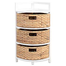 Corner Cabinet with 3 Woven Drawers in White