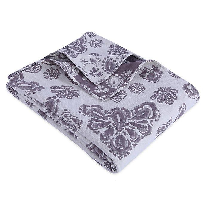 Alternate image 1 for Berkshire Blanket® Twin Linen Blend Medallion Blanket in Grey/White