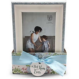 Elsa L® Best Mom Ever 4-Inch x 6-Inch Picture Frames in Blue (Set of 2)
