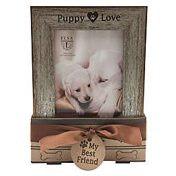 Elsa L Puppy Love 4-Inch x 6-Inch Frames in Silver (Set of 2)