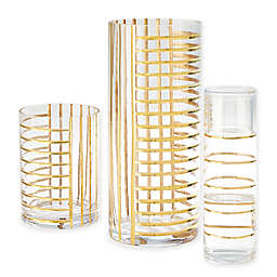Global Views Grid Glass Carafe with Cup in Gold
