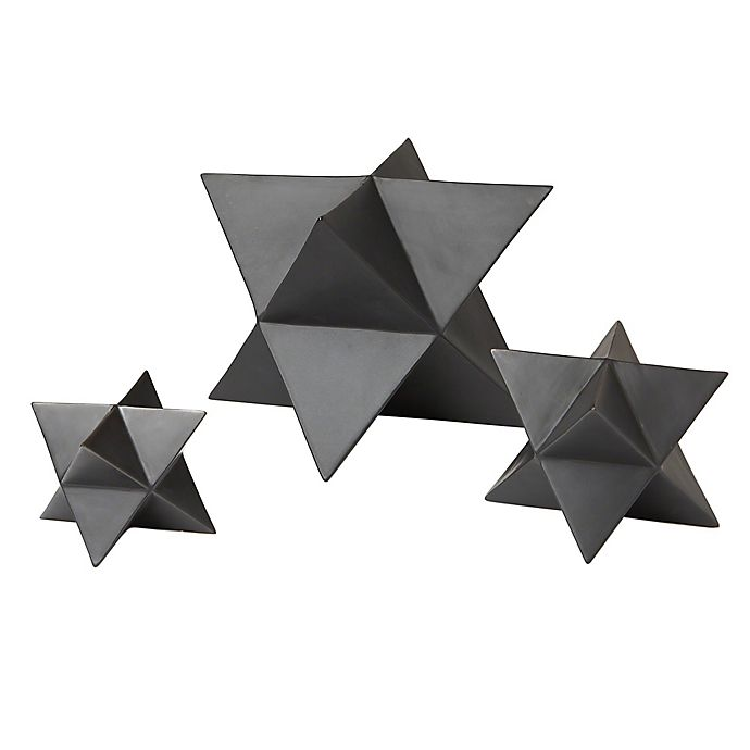 Alternate image 1 for Global Views Star Objet Sculptures in Matte Black (Set of 3)