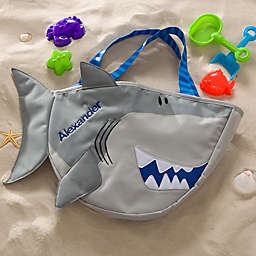 Embroidered Shark Beach Tote with Toy Set