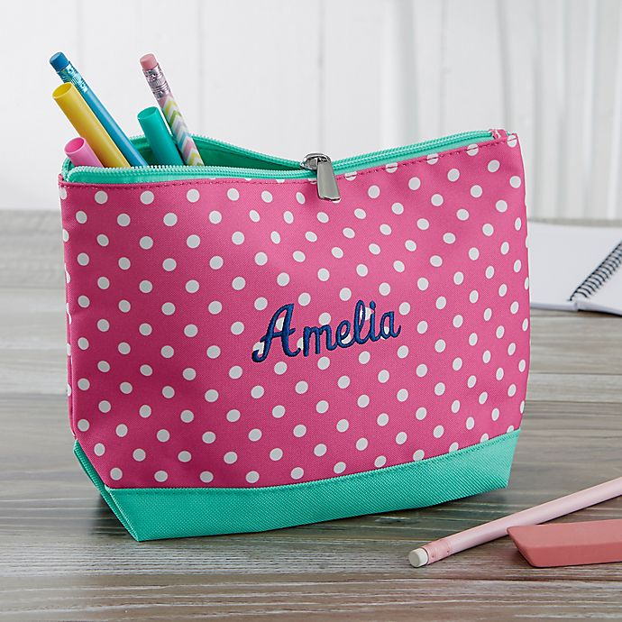 Alternate image 1 for Pink Polka Dot Embroidered Pencil Case