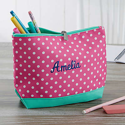 Pink Polka Dot Embroidered Pencil Case