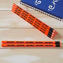 Neon Orange Personalized Pencil Set of 12