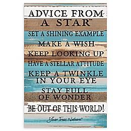 "Sweet Bird & Co. 12-Inch x 18-Inch ""Advice From A Star"" Wood Wall Art"