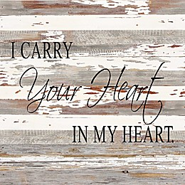 "Sweet Bird & Co ""Carry Your Heart"" Wood Wall Art in Silver/White"