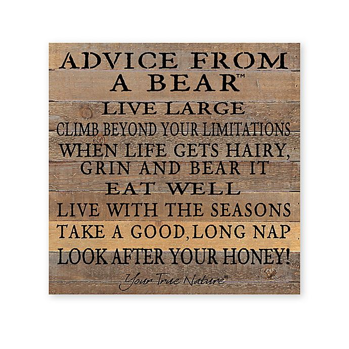 Alternate image 1 for Sweet Bird & Co. Advice From A Bear Reclaimed Wood Wall Art