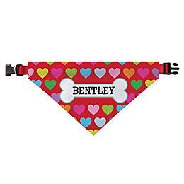 Personalized Planet Rainbow Hearts Dog Bandana