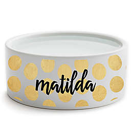 Personalized Planet Polka Dots Small Dog Bowl in Gold/White