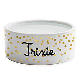 Personalized Planet Confetti Small Dog Bowl in Gold/White