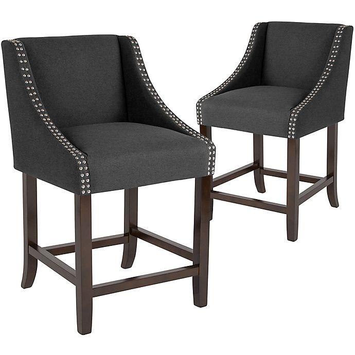 Flash Furniture Upholstered Carmel 36 Bar Stools In Blackset Of 2