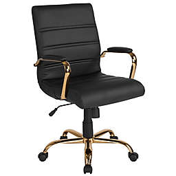 Flash Furniture Faux Leather Swivel Mid-back Chair in Black