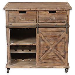 Rustic Sliding Barn Door Wine Cabinet in Natural
