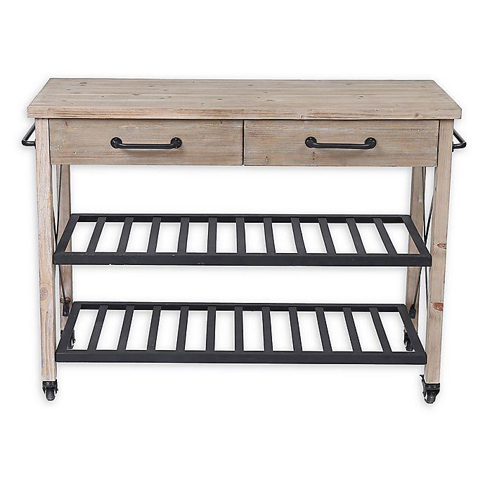 Alternate image 1 for 2-Drawer Kitchen Cart in Natural
