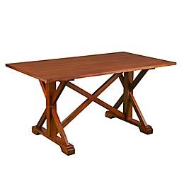 Southern Enterprises Cardwell Farmhouse Dining Table in Oak Saddle