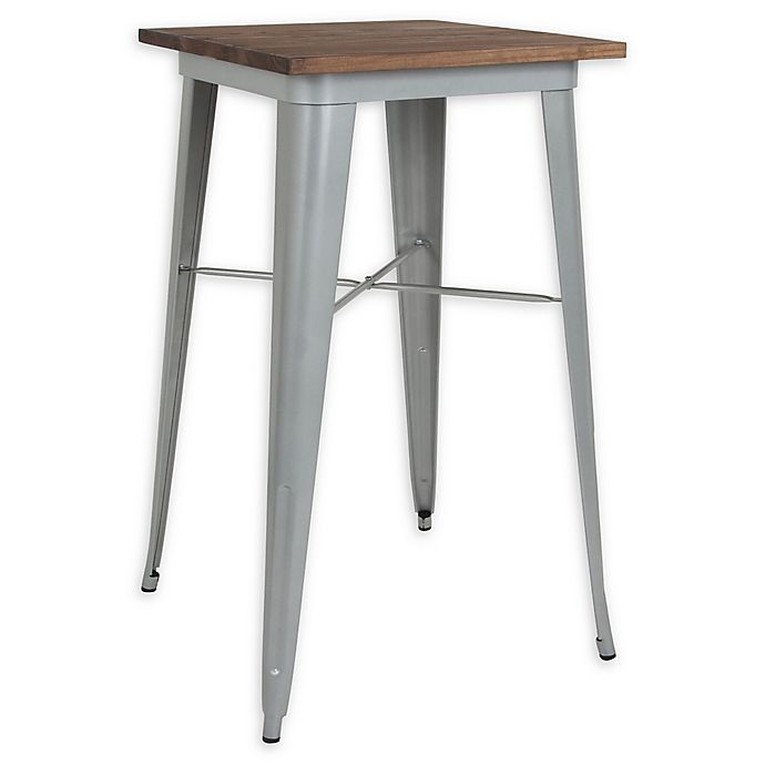 Alternate image 1 for Flash Furniture 23.5-Inch Square Bar Height Metal Table in Silver with Walnut Top