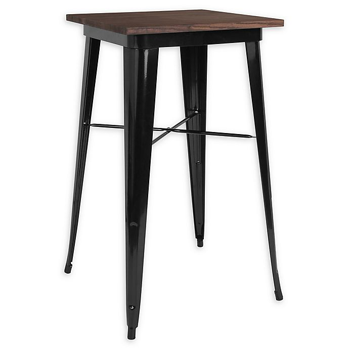 Alternate image 1 for Flash Furniture 23.5-Inch Square Bar Height Metal Table in Black with Walnut Top