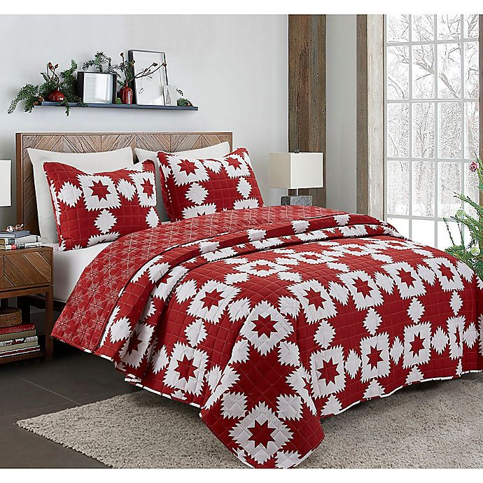 Alternate image 1 for Holiday  Reversible King Quilt in Red