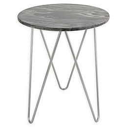 O&O by Olivia & Oliver Round Marble/Steel Side Table