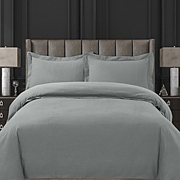 Tribeca Living Solid Flannel Duvet Cover Set